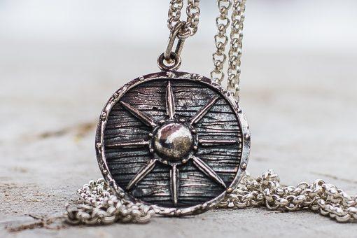 Collier Viking Bouclier Shield Argent