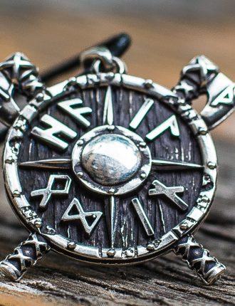 Collier Viking Haches et Runes en Argent