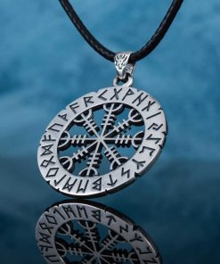 Collier Viking Helm Of Awe Futhark Runes en Argent