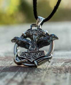 Collier Viking Marteau Double Face Raven en Argent