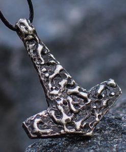 Collier Viking Marteau Reliéf en Argent