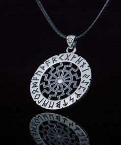 Collier Viking Soleil Noir Elder Futhark Runes en Argent