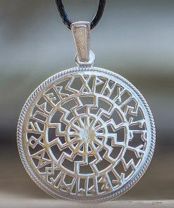 Collier Viking Soleil Noir Runique en Argent