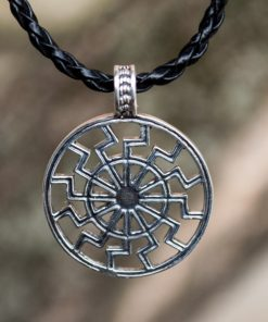 Collier Viking Soleil Noir Schwarze en Argent