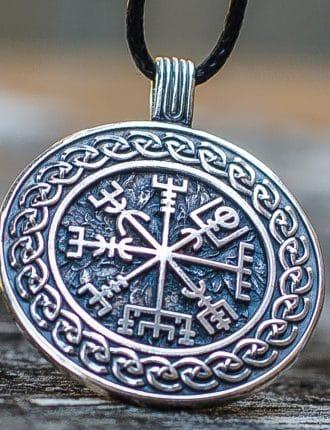 Collier Viking Vegvisir avec Ornement en Argent