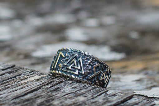 Bague Viking Valknut Hail Odin Runes