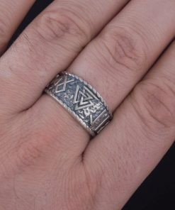 Bague Viking Valknut Hail Odin Runes