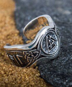 Bague Valknut Hail Odin Runes en Argent