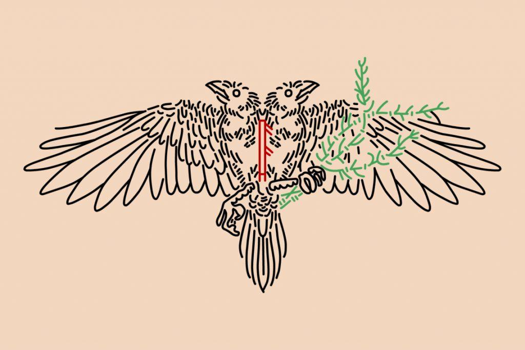 symbole viking huginn and muninn