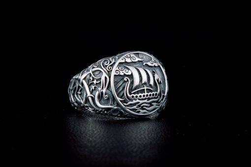 Bague drakkar viking